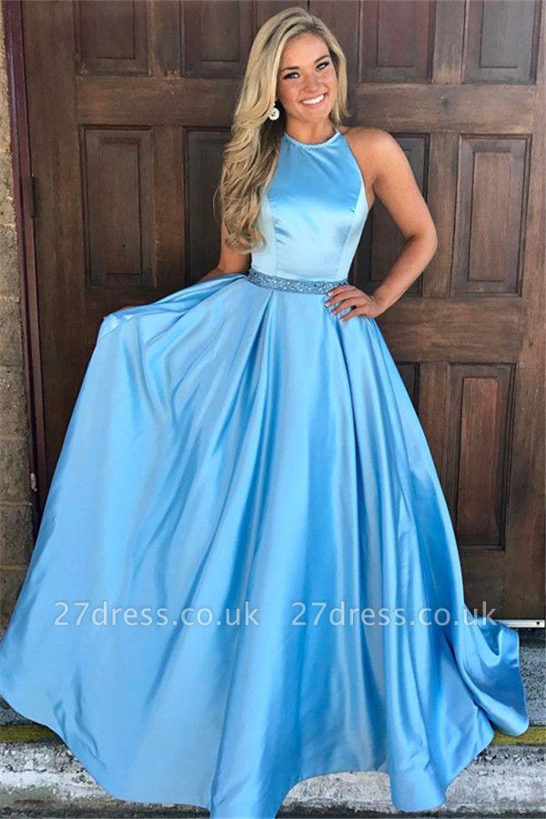 Chic Round Neck Sleeveless A-Line Lace Long Prom Dress UKes UK UK