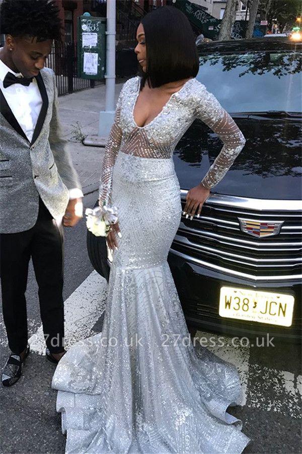 Speical V-Neck with Sleeves Sequined Elegant Mermaid Long Prom Dress UKes UK UK