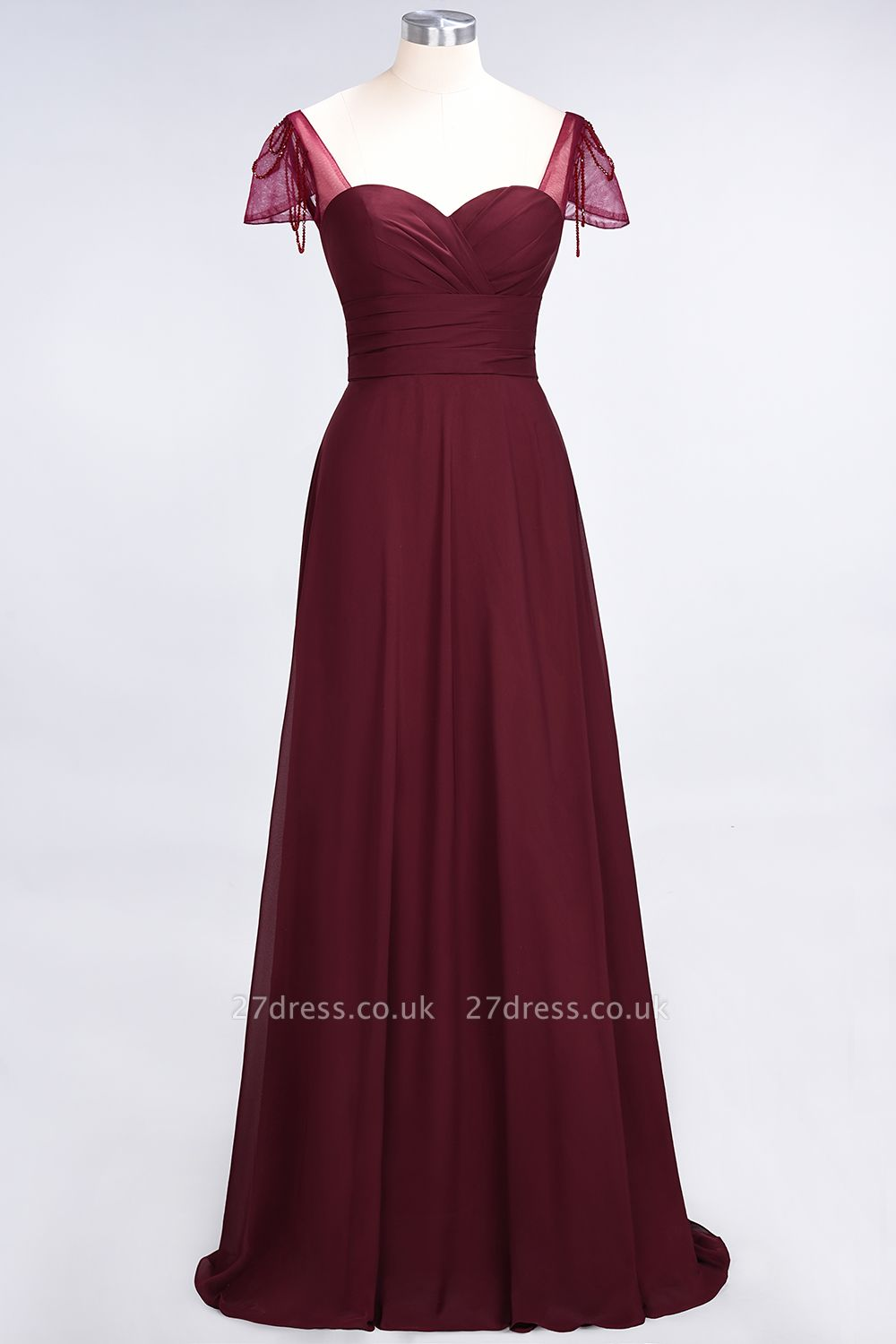 A-Line Chiffon Sweetheart Cap-Sleeves Ruffle Long Bridesmaid Dress UK with Beadings
