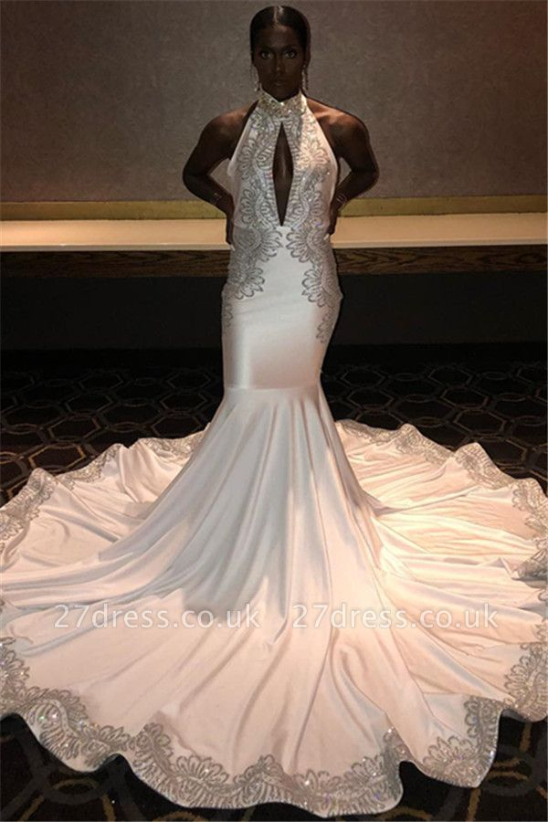 Chic Halter Sleeveless Appliques Elegant Mermaid Sweep Train Prom Dress UKes UK UK