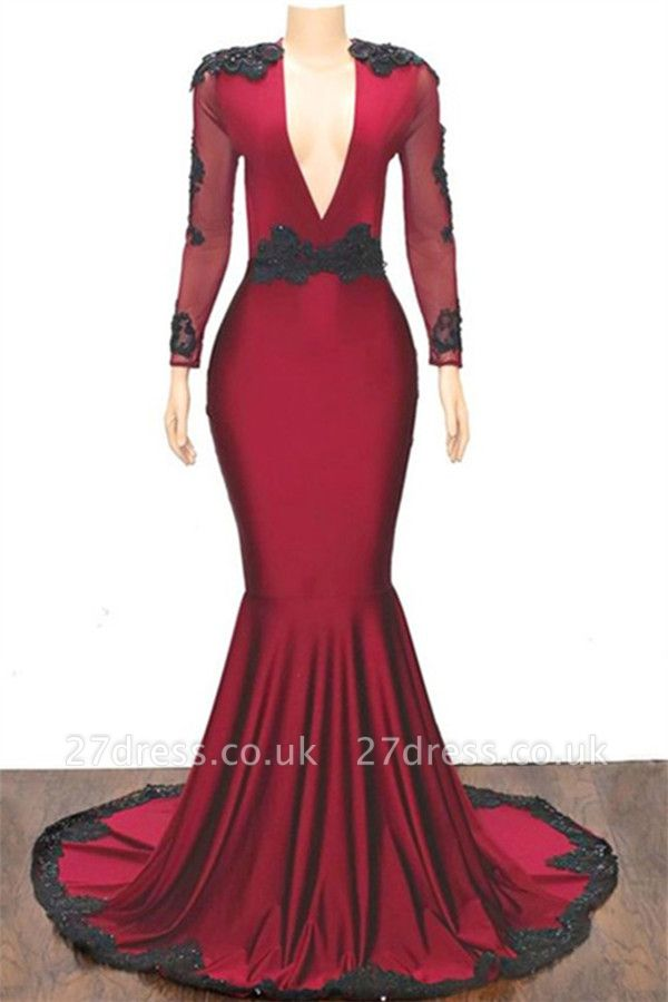 Special Design Deep Alluring V-neck Long Sleeves Appliques Elegant Mermaid Floor-Length Prom Dress UKes UK UK