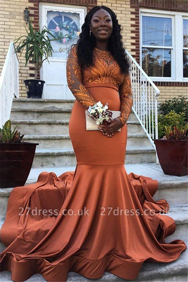 Gorgeous Round Neck Appliques with Sleeves Elegant Mermaid Long Prom Dress UKes UK UK