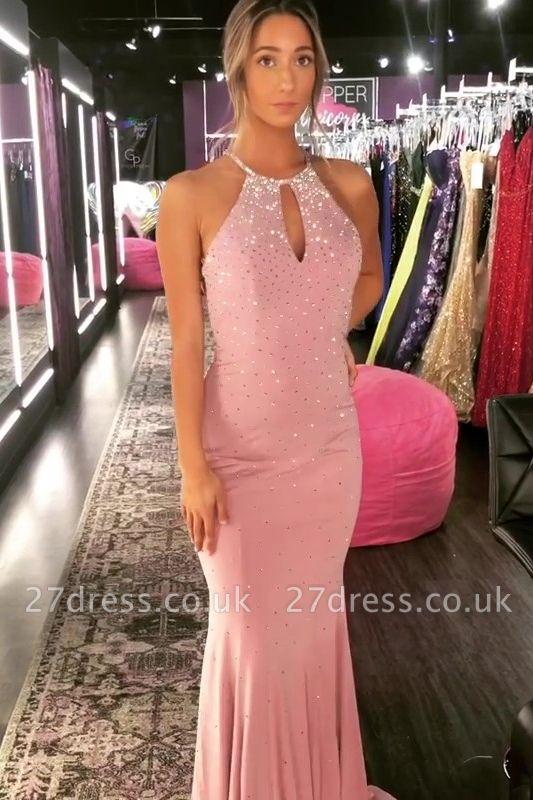 Timeless Elegant Mermaid Halter Long Prom Dress UKes UK UK with Crystal