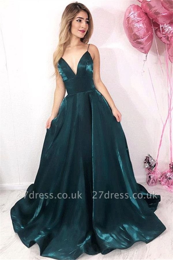 Chic V-Neck Spaghetti Straps A-Line Sleeveless Long Prom Dress UKes UK UK