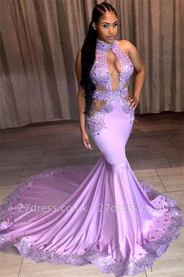 Stunning Halter Sleeveless Sequined Appliques Lace Elegant Mermaid Prom Dress UKes UK UK