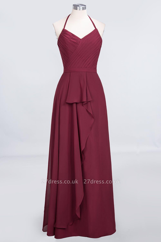 A-Line Chiffon Halter V-Neck Sleeveless Long Bridesmaid Dress UK with Ruffle
