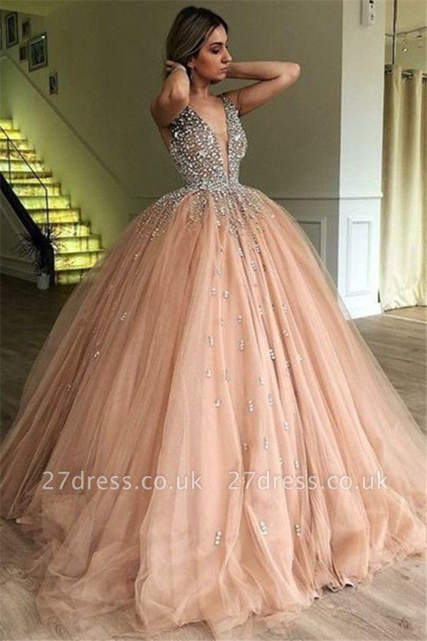 Chic V-Neck Straps Sleeveless Crystals Tulle Ball Gown Prom Dress UKes UK UK