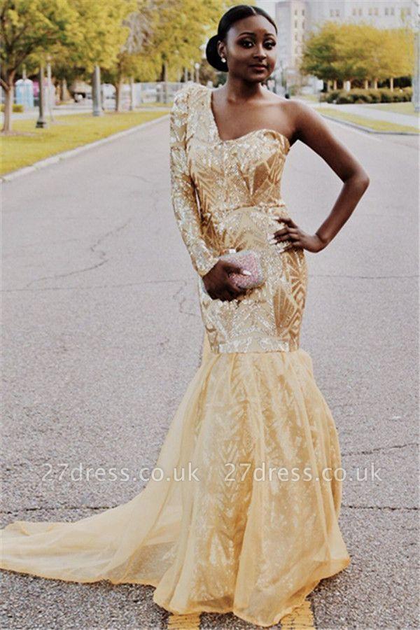 Gorgeous One Shoulder with Sleeves Elegant Mermaid Sweep Train Prom Dress UKes UK UK