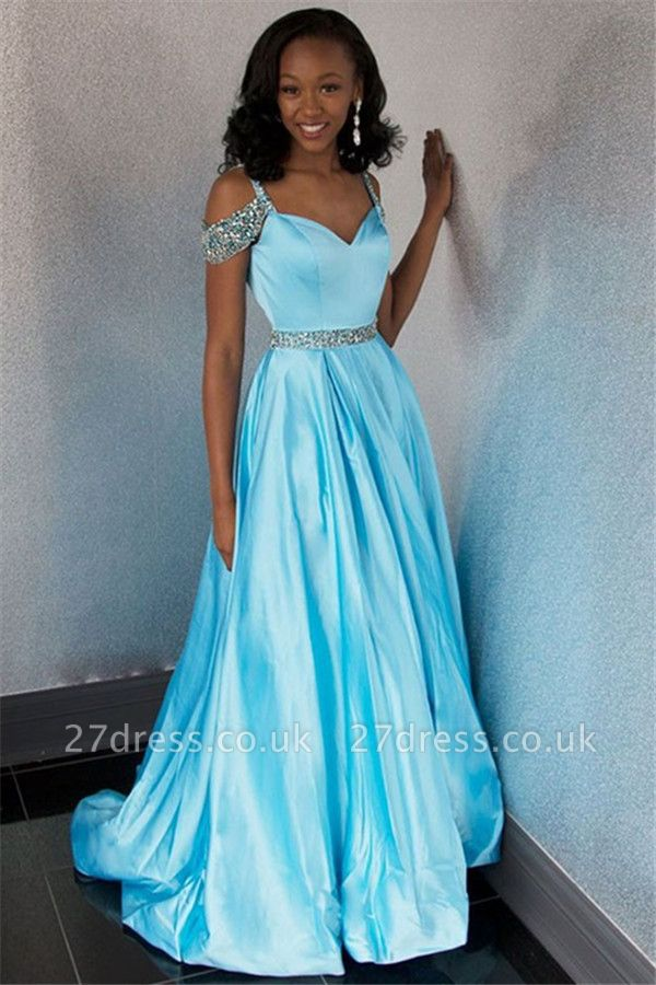 Chic Off-the-Shoulder A-Line Crystals Lace Long Prom Dress UKes UK UK