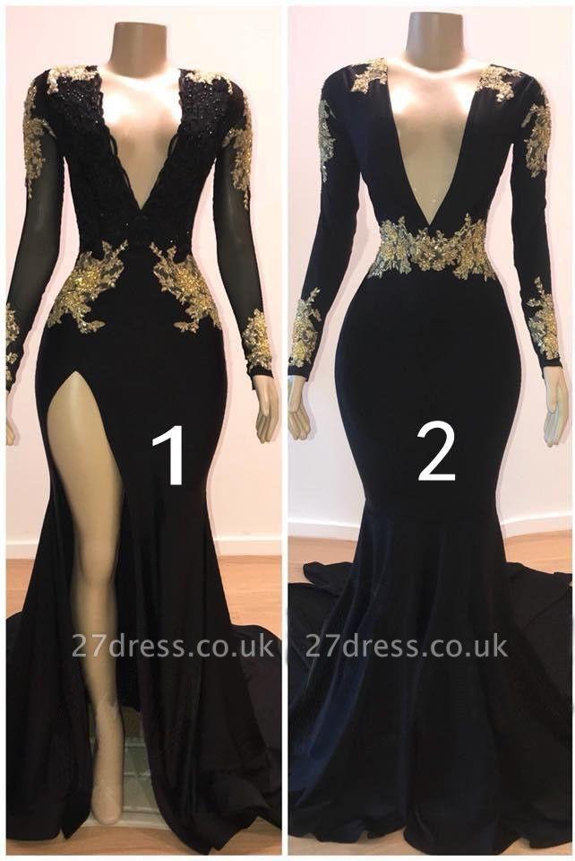 Stunning V-Neck with Sleeves Appliques Elegant Mermaid Long Prom Dress UKes UK UK