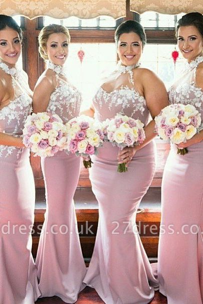 Newest Halter Sleeveless Mermaid Bridesmaid Dress UK Lace Appliques
