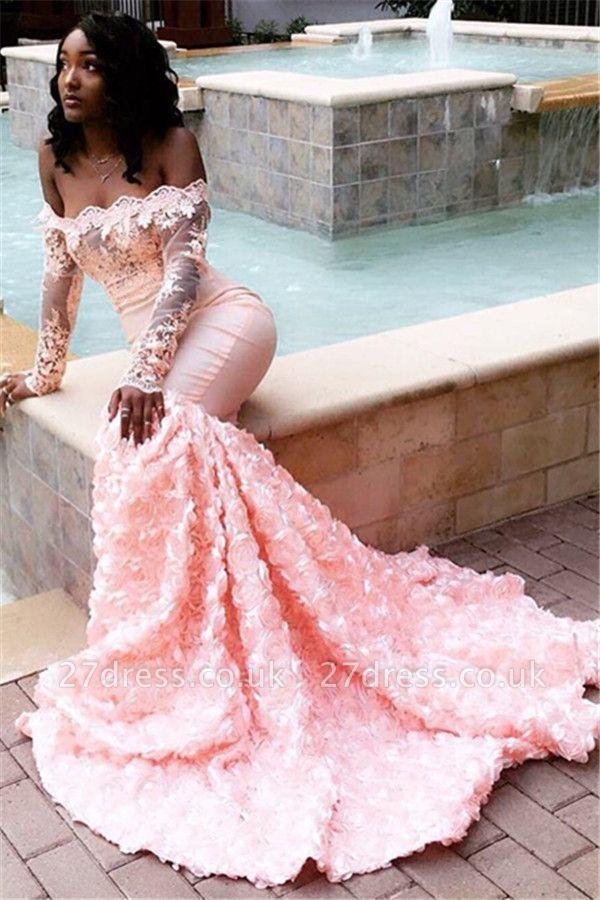 Stunning Off-the-Shoulder with Sleeves Appliques Elegant Mermaid Sweep Train Prom Dress UKes UK UK