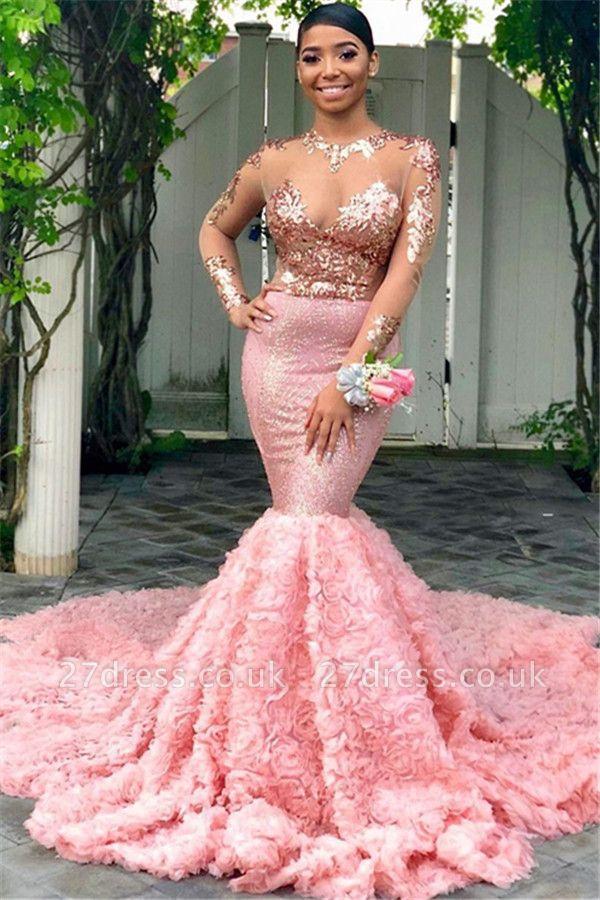Amazing Round Neck Sequins Elegant Mermaid Long Sleeves Tulle Prom Dress UKes UK UK