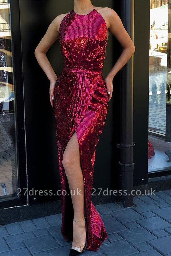 Stunning Halter Sleeveless Sequined Front Slit Elegant Mermaid Long Prom Dress UKes UK UK