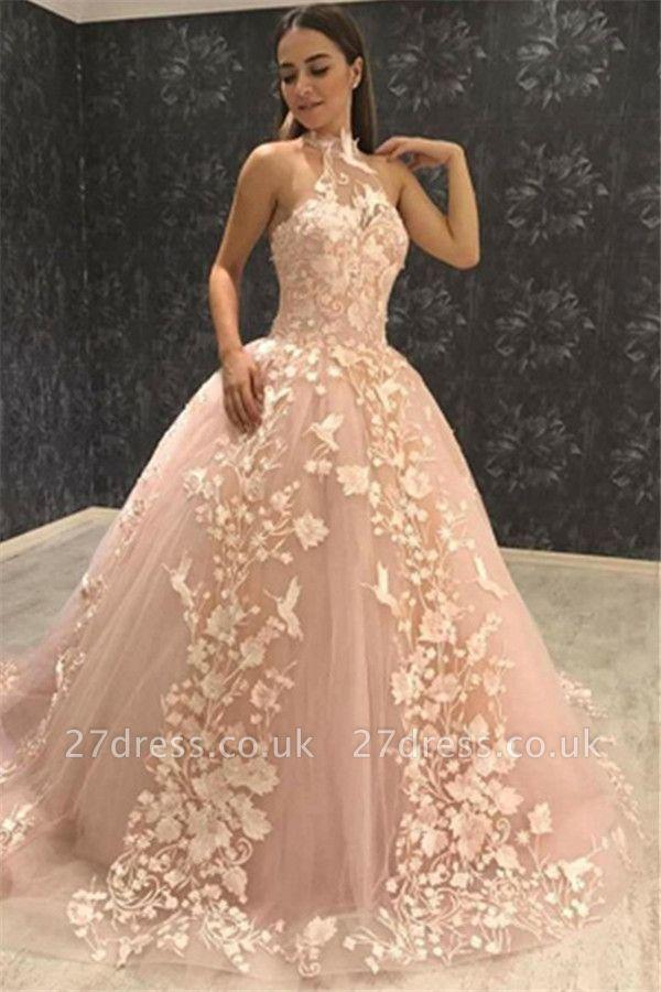 Chic Halter Sleeveless Tulle Appliques Ball Gown Prom Dress UKes UK UK