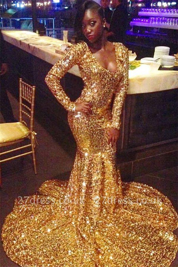 Elegant Long Sleeves Elegant Mermaid Scoop Floor length Prom Dress UKes UK UK