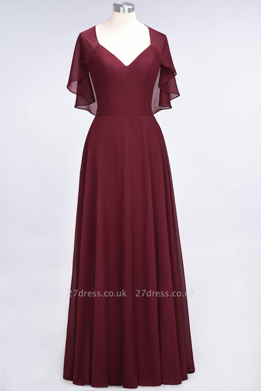 A-Line Chiffon Satin V-Neck short-sleeves Long Bridesmaid Dress UK