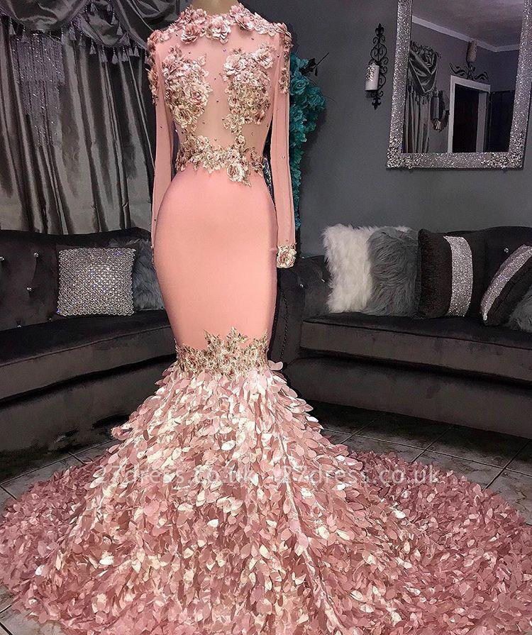 Sexy Round Neck Flower Long Sleeves Sequins Elegant Mermaid Prom Dress UKes UK UK