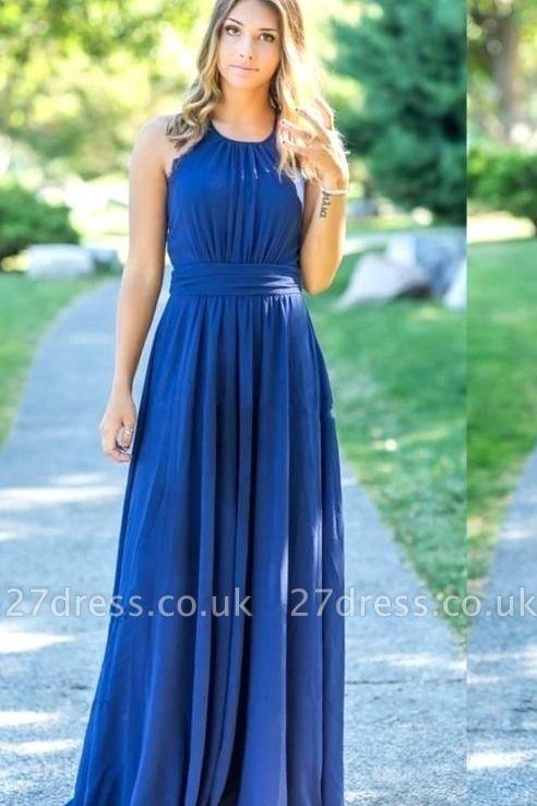 Ocean Blue Halter Chiffon Affordable Bridesmaid Dress UKes UK | A-line Backless Long Bridesmaid Dress UKes UK