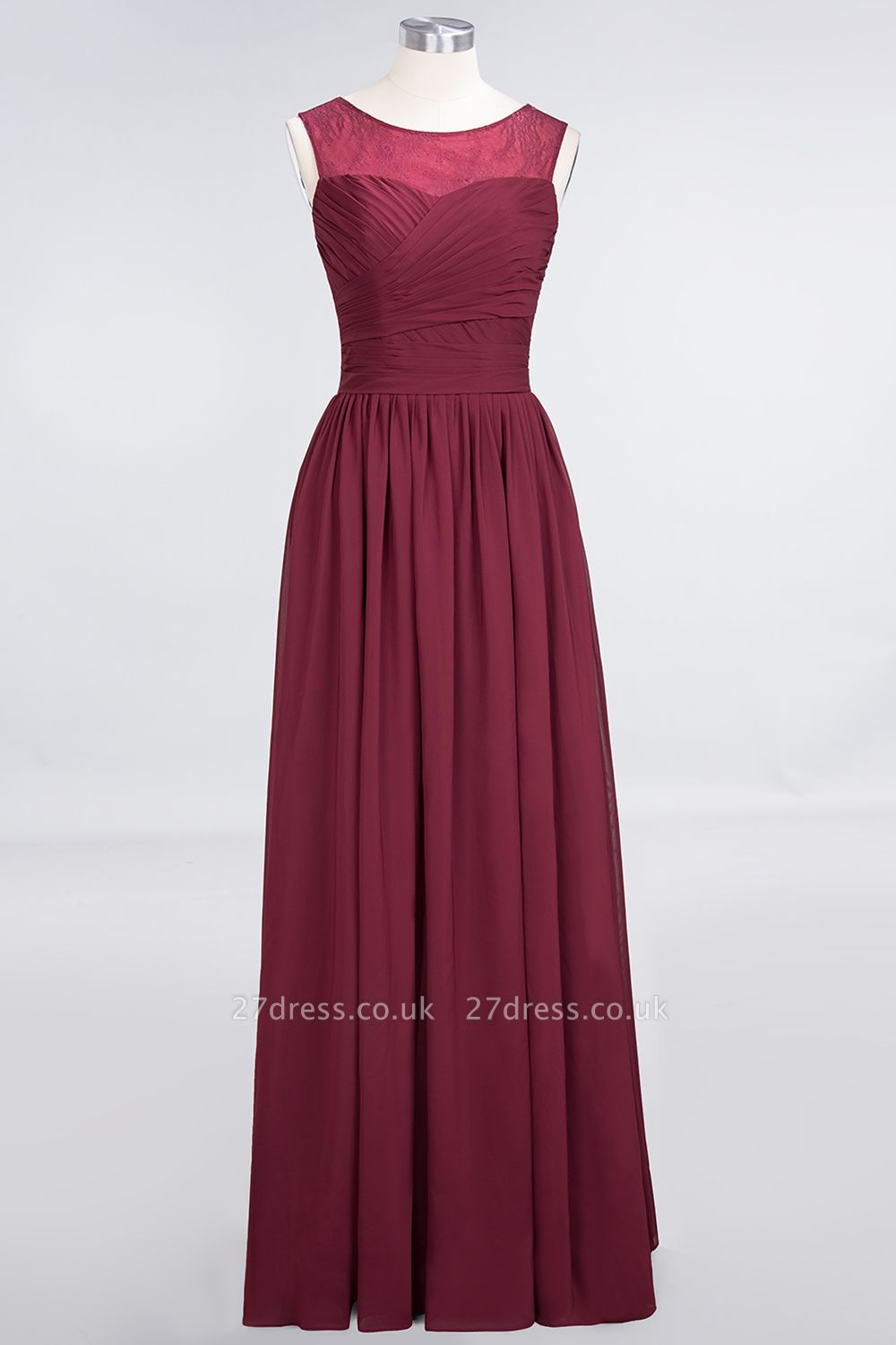 A-Line Chiffon Tulle Lace Scoop Sleeveless Long Bridesmaid Dress UK with Ruffle