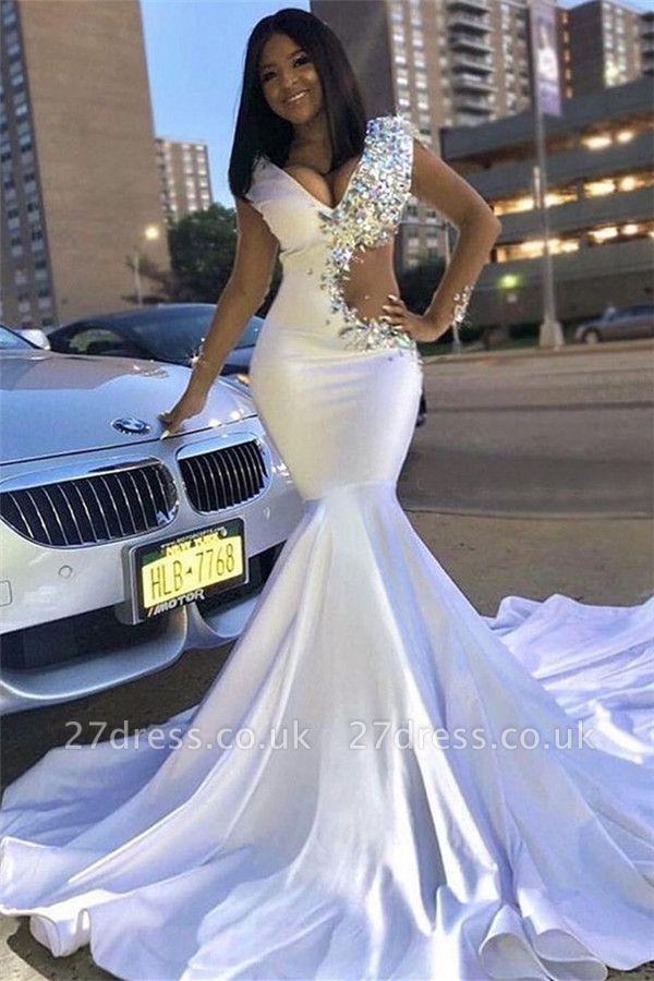 Chic V-Neck Lace Crystals Sweep Train Elegant Mermaid Prom Dress UKes UK UK