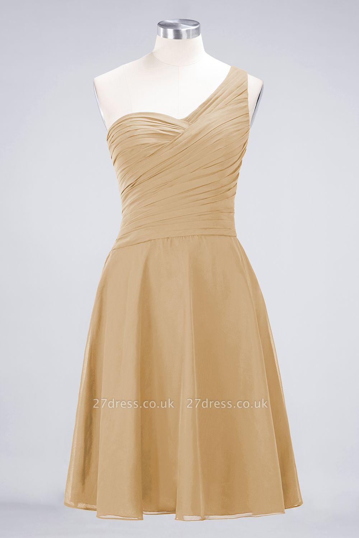 Sexy A-line Flowy One-Shoulder Sweetheart Sleeveless Short length Bridesmaid Dress UK UK with Ruffles