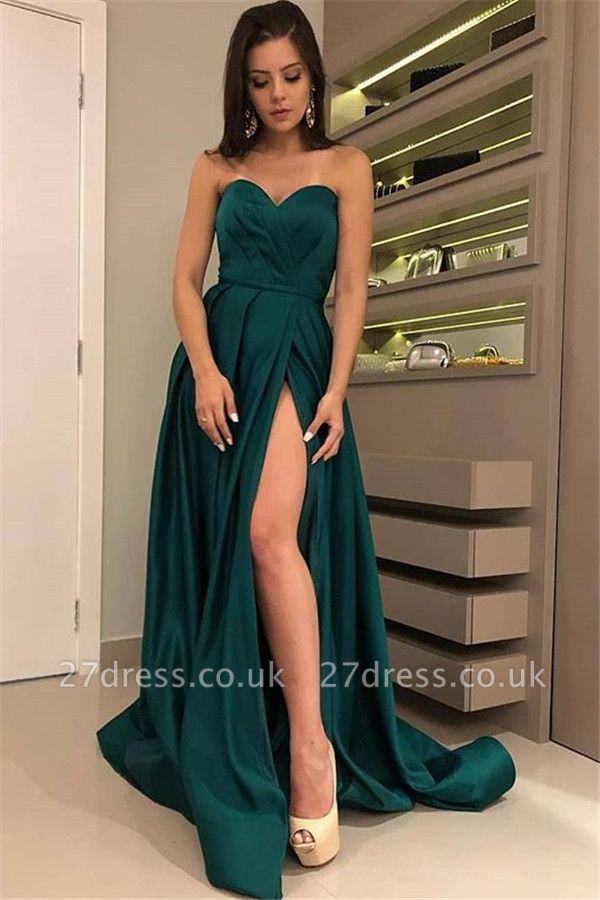 Chic Strapless Front Split Sleeveless Floor-Length Sexy A-line Prom Dress UKes UK UK