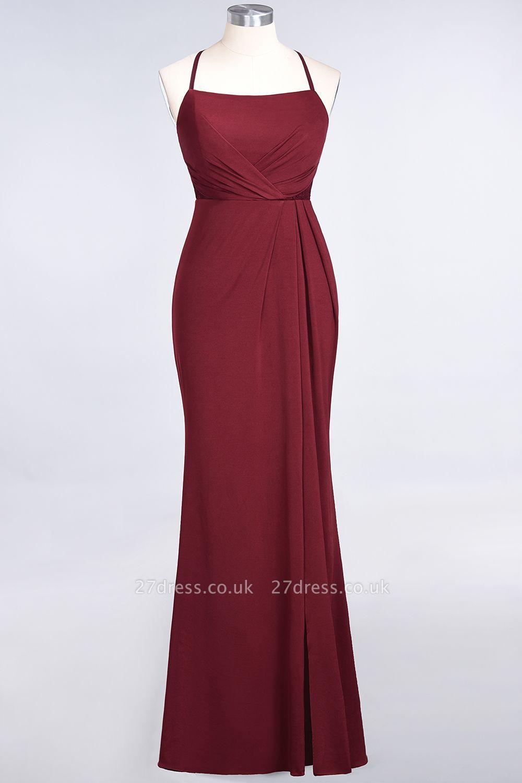 Elegant Mermaid spandex Lace Spaghetti-Straps Sleeveless Long Bridesmaid Dress UK with Ruffle