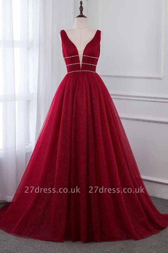 Stylish Deep Alluring V-neck Sleeveless Tulle Sexy A-line Rhinestones Prom Dress UKes UK UK