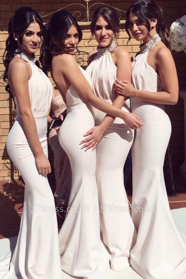 Timeless Halter Elegant Mermaid Bridesmaid Dress UKes UK | Elegant Ruched Long Wedding Party Dress UKes UK