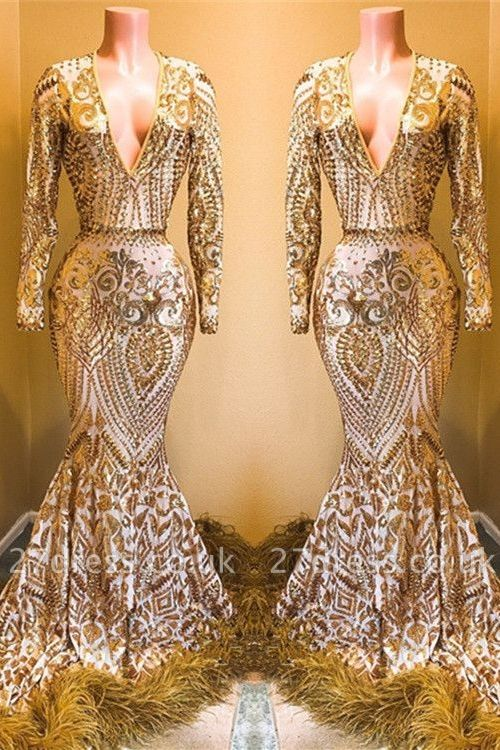 Stunning Sequins Long Sleeves V-neck Elegant Trumpt Prom Dress UKes UK UK