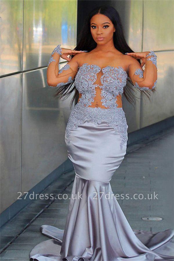 Chic Off The Shoulder Long Sleeves Elegant Trumpt Prom Dress UKes UK UK | Sheer Tulle Lace Appliques Evening Dress UKes UK