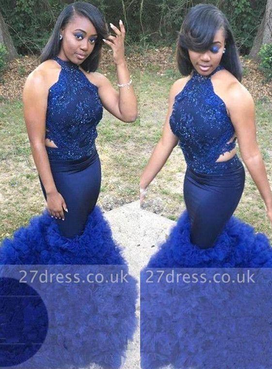 Royal Blue Halter Sleeveless Prom Gown | Elegant Floral Lace Appliques Elegant Trumpt Evening Dress UK