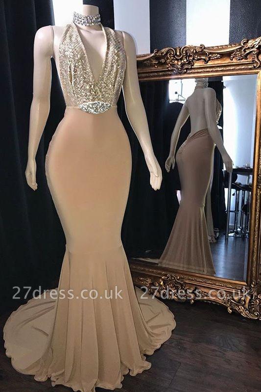 Champagne Crystal Halter Elegant Trumpt Long Prom Dress UKes UK UK | Elegant V-Neck Sleeveless Evening Dress UKes UK