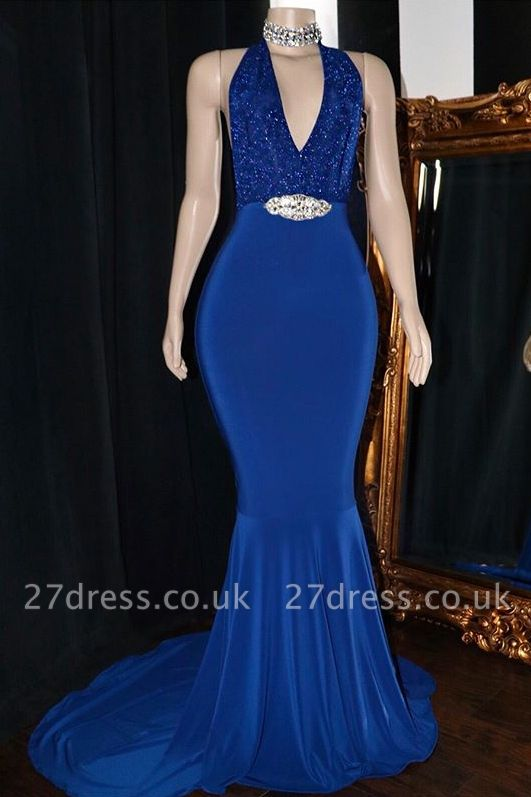 Elegant Halter Sleeveless Elegant Trumpt Prom Dress UKes UK UK   V-Neck Lace Appliques Crystal Evening Dress UKes UK