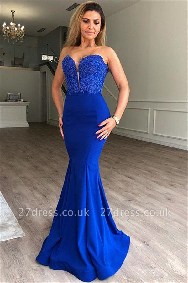 Sexy Elegant Mermaid Sweetheart Sleeveless Lace Appliques Prom Dress UKes UK UK