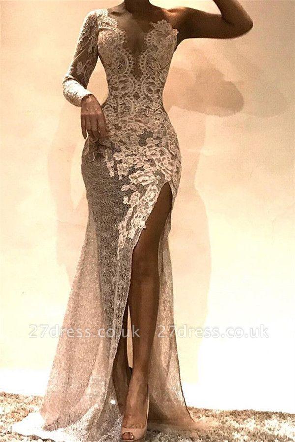 Amazing Column One-Shoulder Side Slit Lace Prom Dress UKes UK UK