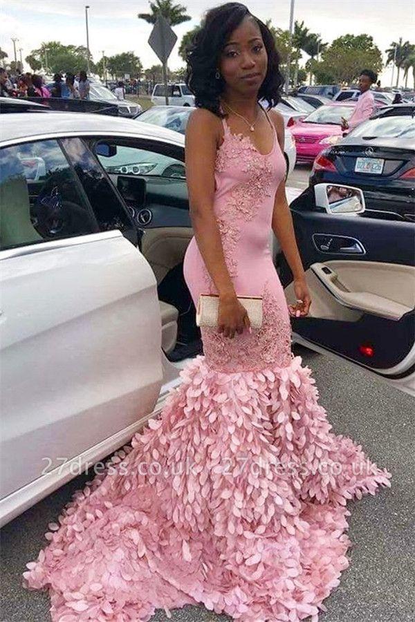 Pink Elegant Mermaid Spaghetti Straps Sleeveless Lace Appliques Sexy Prom Dress UKes UK UK
