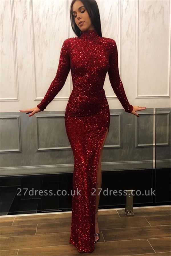 Burgundy Maroon Column High Neck Long Sleeves Sequin Side Slit Prom Dress UKes UK UK
