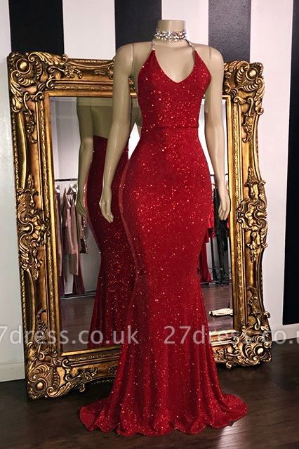 Elegant Sequins Sleeveless Elegant Trumpt Prom Dress UKes UK UK | Shining Halter Red Evening Dress UKes UK