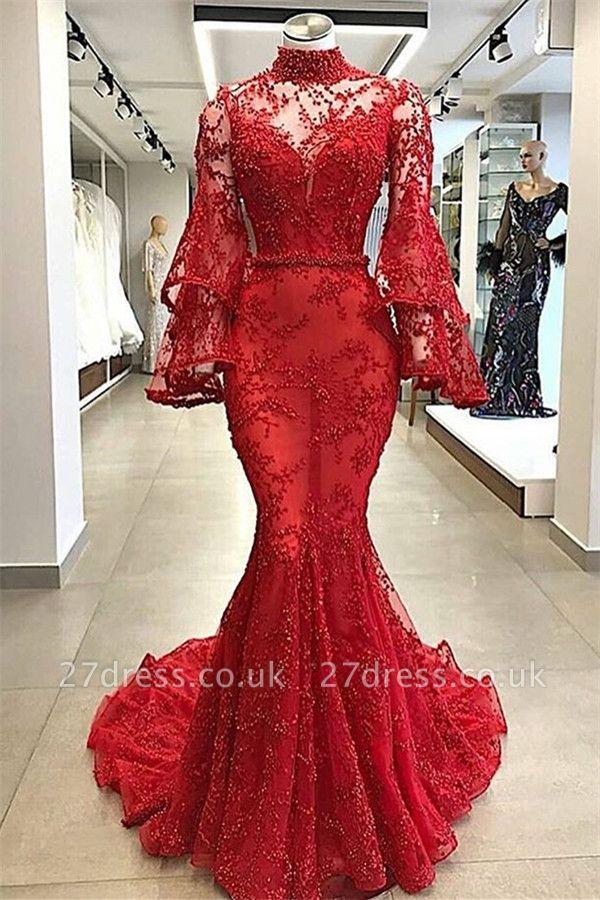 Luxury red High Neck Sheer Tulle Long Sleeves Beading Elegant Mermaid Prom Dress UKes UK UK