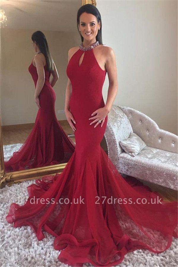 Sexy Elegant Mermaid High Neck Sleeveless Sparkly Crystal Prom Dress UKes UK UK