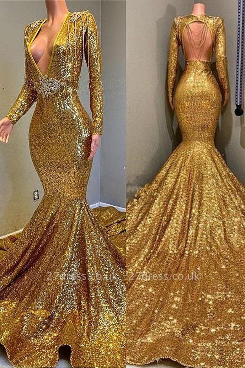 Luxury Elegant Trumpt Sequins Long Sleeves Floor Length Prom Dress UKes UK UK