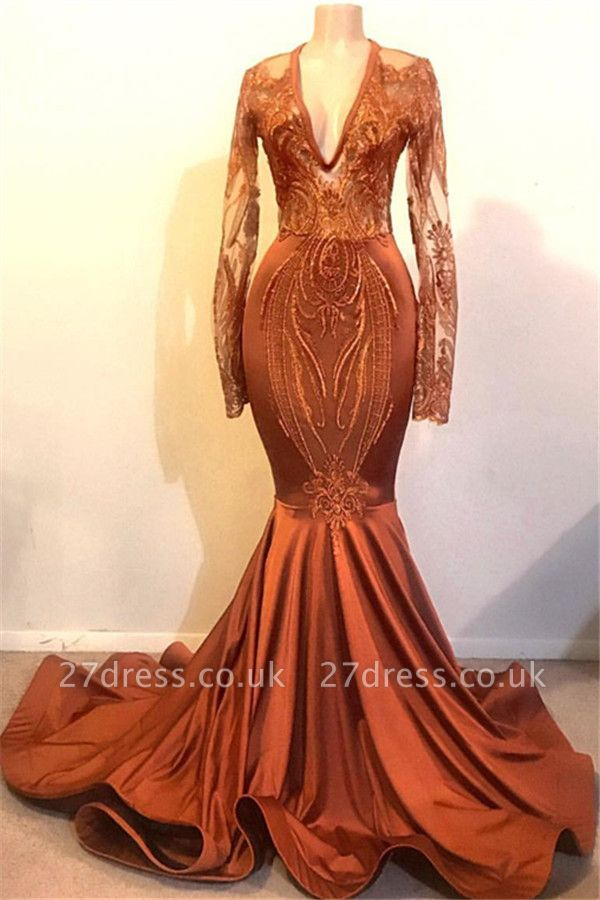 Gorgeous Elegant Mermaid V-neck with Sleeves Prom Dress UKes UK UK