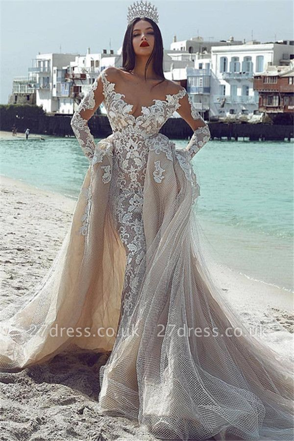Sexy Sexy V-Neck Long Sleeves Tulle Applique Bridal Gowns with Overskirt