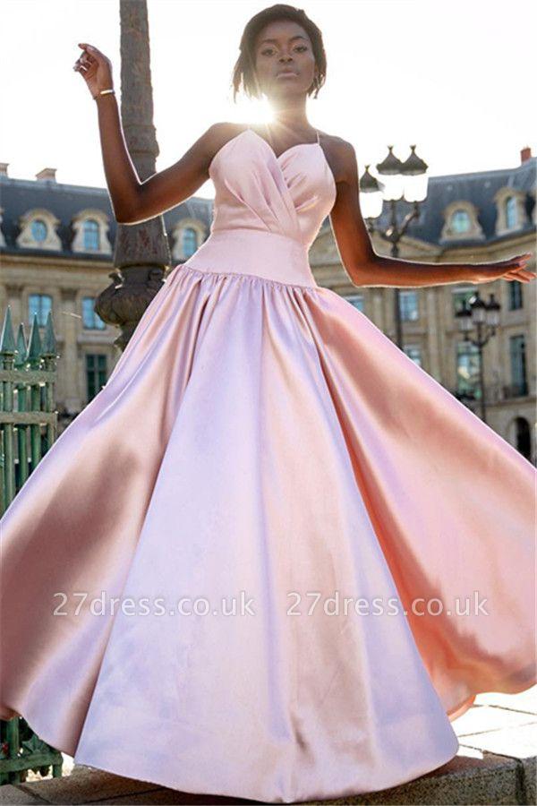 Sexy Simple Sweet Pink Spaghetti-Straps Prom Dress UKes UK UK | Sleeveless A-Line Ruffles Sexy Evening Dress UKes UK