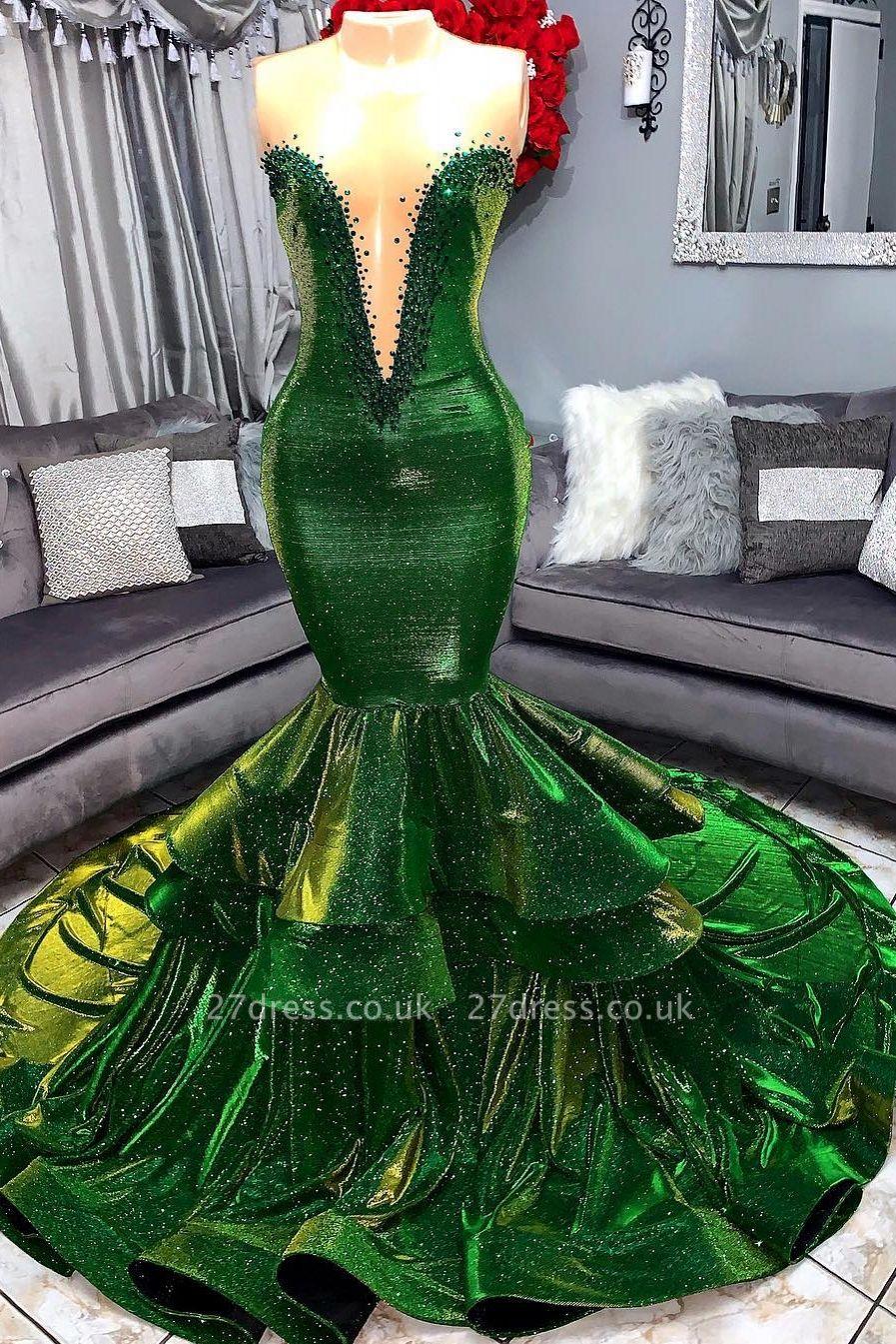 Green Luxury Ruffles Elegant Trumpt Prom Dress UKes UK UK | Elegant StraplessLace Appliques Long Evening Dress UKes UK
