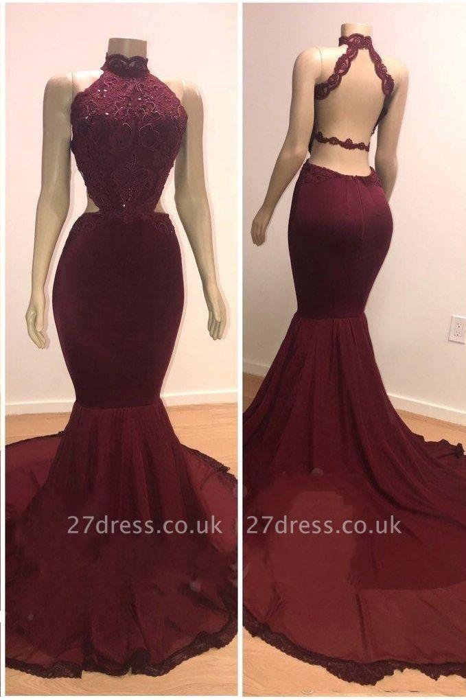 Lace Top High Neck Elegant Trumpt Long Wine Red Maroon Prom Dress UKes UK UK