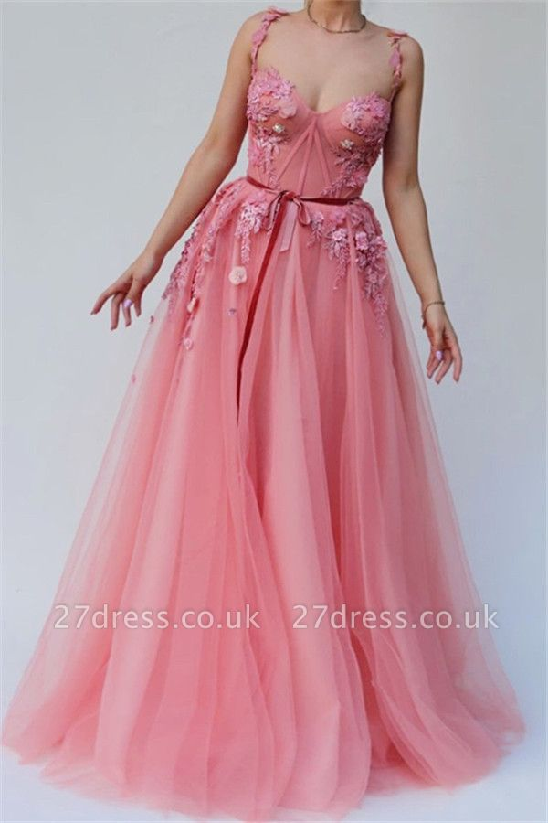 Pink Luxury A-line Spaghetti Tulle Flower Applique Prom Dress UKes UK UK