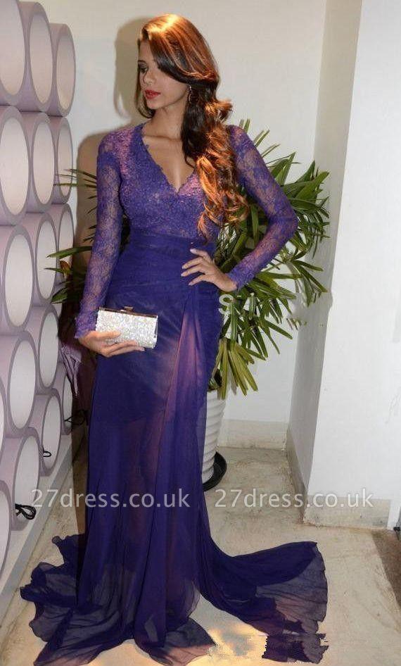 Amazing Column Sexy V-Neck Long Sleeves Tulle Applique Prom Dress UKes UK UK